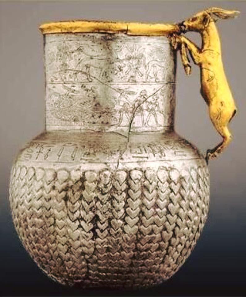 Antik Mısır dönemine ait Sapı keçi formunda olan altın ve gümüşten - k chen antik stil