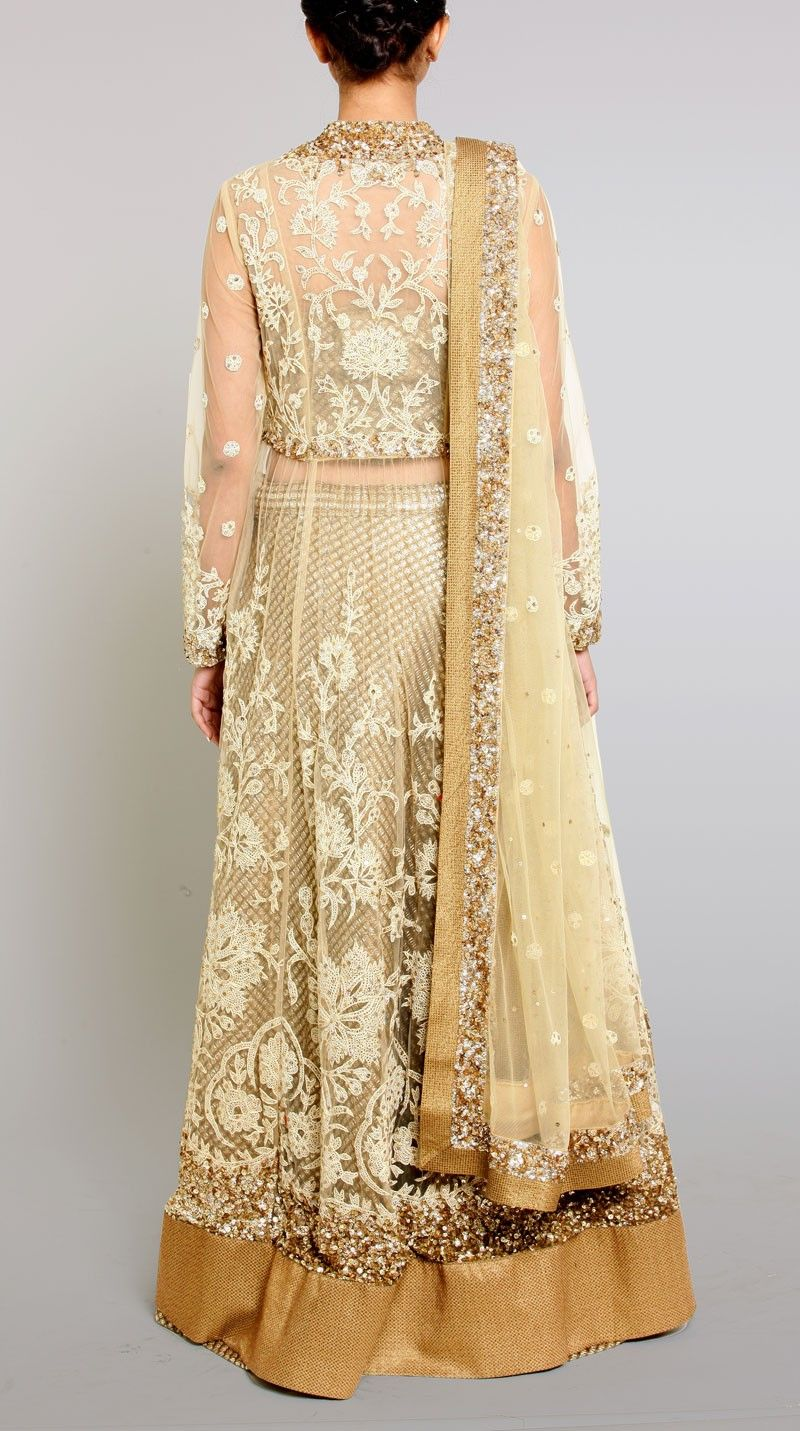 Ritu Kumar Buy Indian Designer Beige Gold Embroidered Net Lehenga