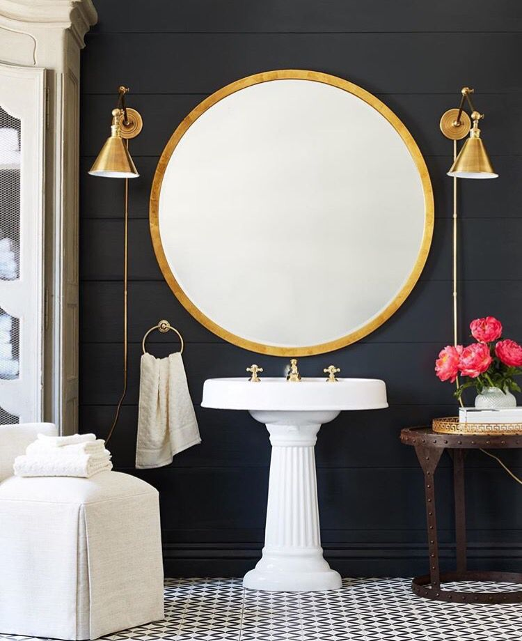 Love The Black Shiplap With The Pop Of White And Gold