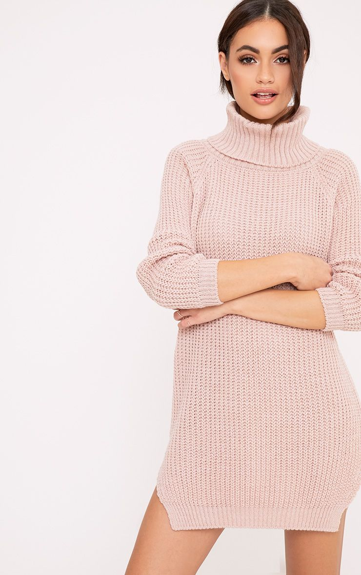 d2362448ce9 Aeeda Blush Chunky Roll Neck Knitted Tunic Dress