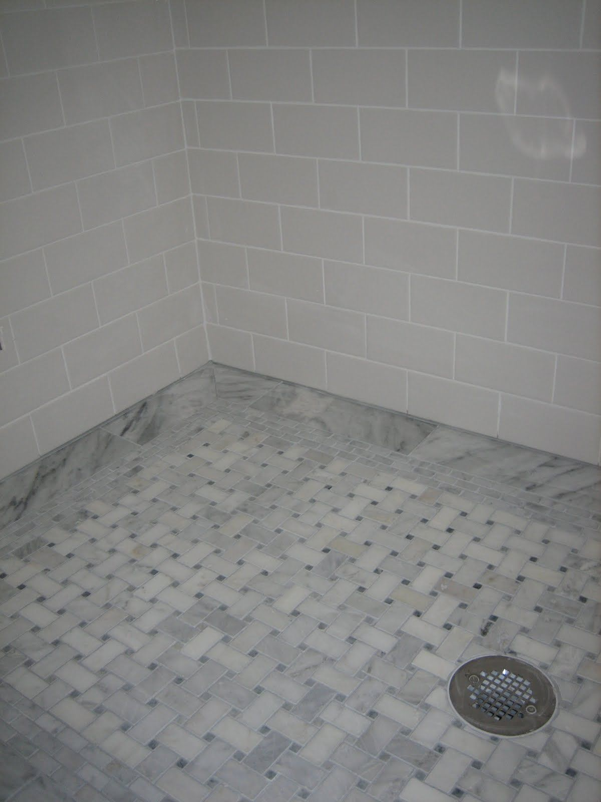 Yes folks its true i finally have another bathroom update for stunning basket weave tile for classic bathroom design amazing subway tile wall mounted shower and basket weave tile flooring for shower design dailygadgetfo Images