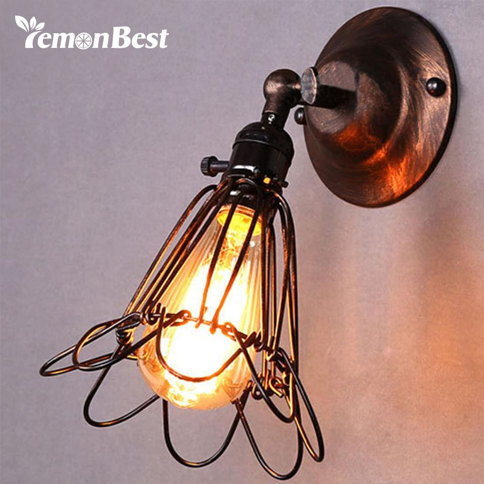 Vintage birdcage small wall sconce products lemonbest e27 vintage wall lamp birdcage small wall sconce loft metal home lighting industrial rustic sconce arubaitofo Images