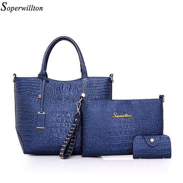 Soperwillton Brand Alligator Women Top-Handle Bags Fashion Lady Crossbody  Bag Blue Handbag Set PU b66f69b83b6ba