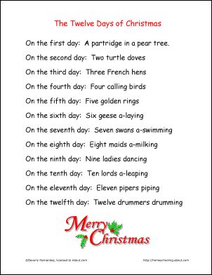 12 days of christmas words printable the twelve days of christmas lyrics alternate page - 12 Days Of Christmas Lyrics