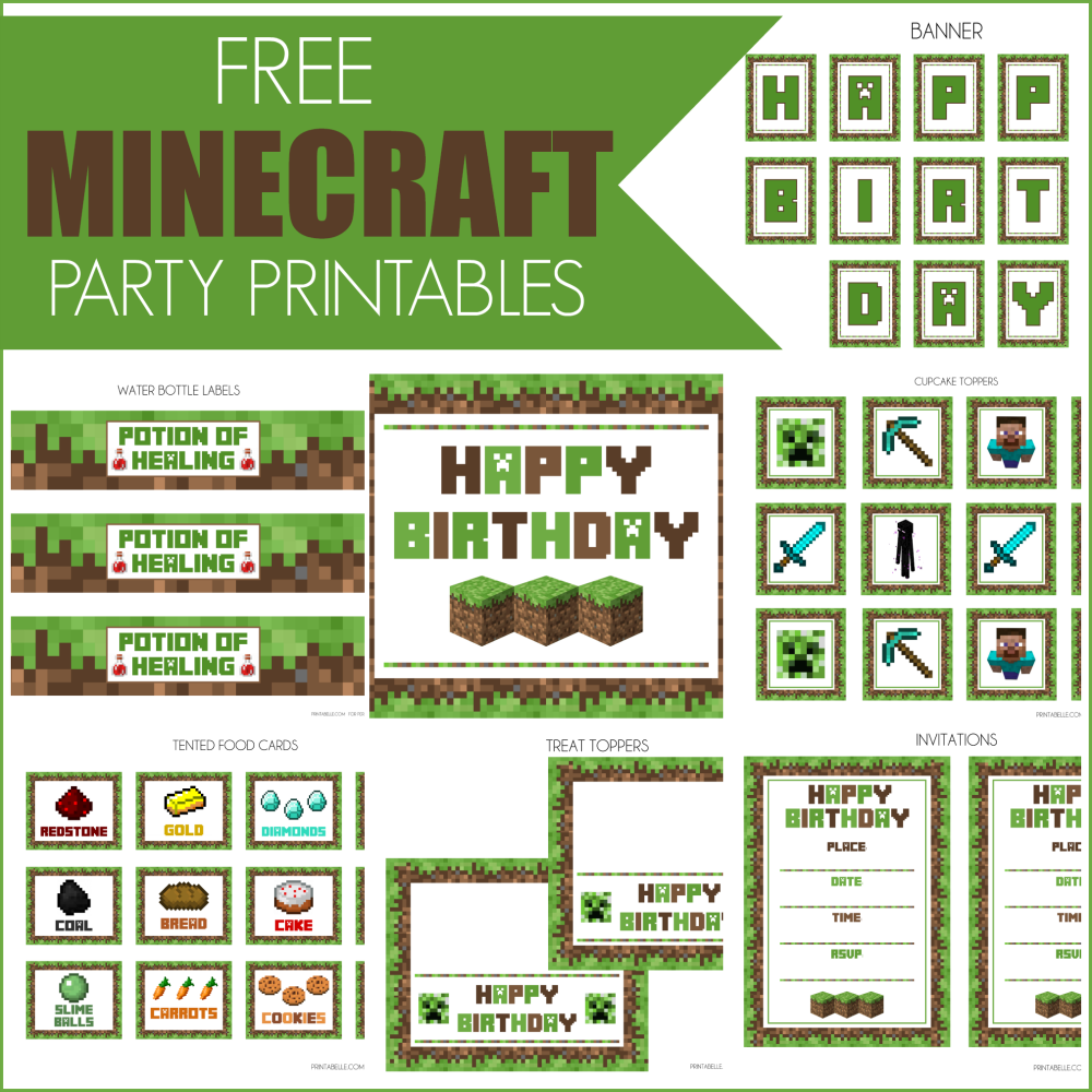 Minecraft Party Invitation Template Free  Birthday Ideas