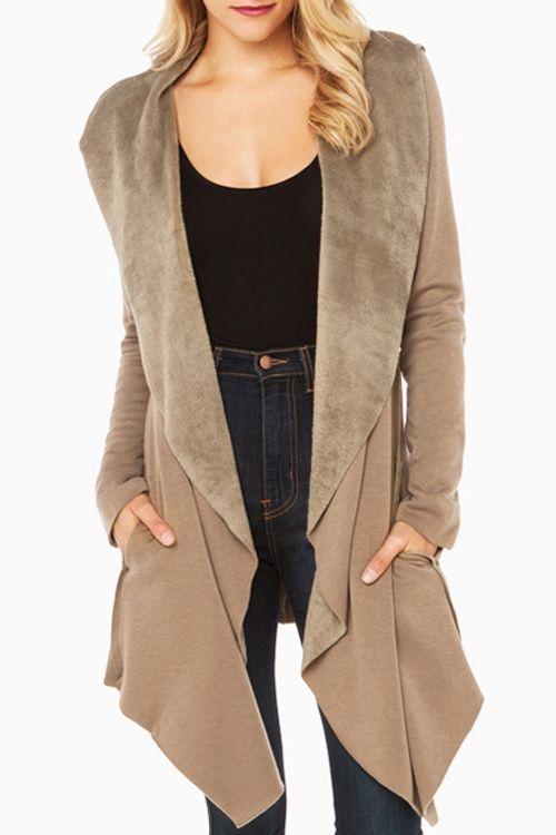 Shawl Collar Fleece Lining Irregular Coat KHAKI: Jackets & Coats | ZAFUL