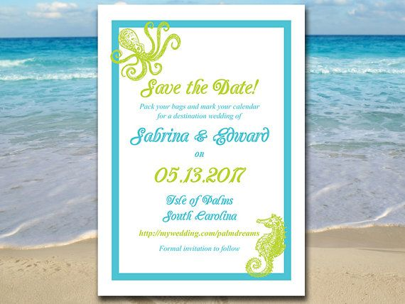 Printable Save The Date Template  Beach Wedding Announcement