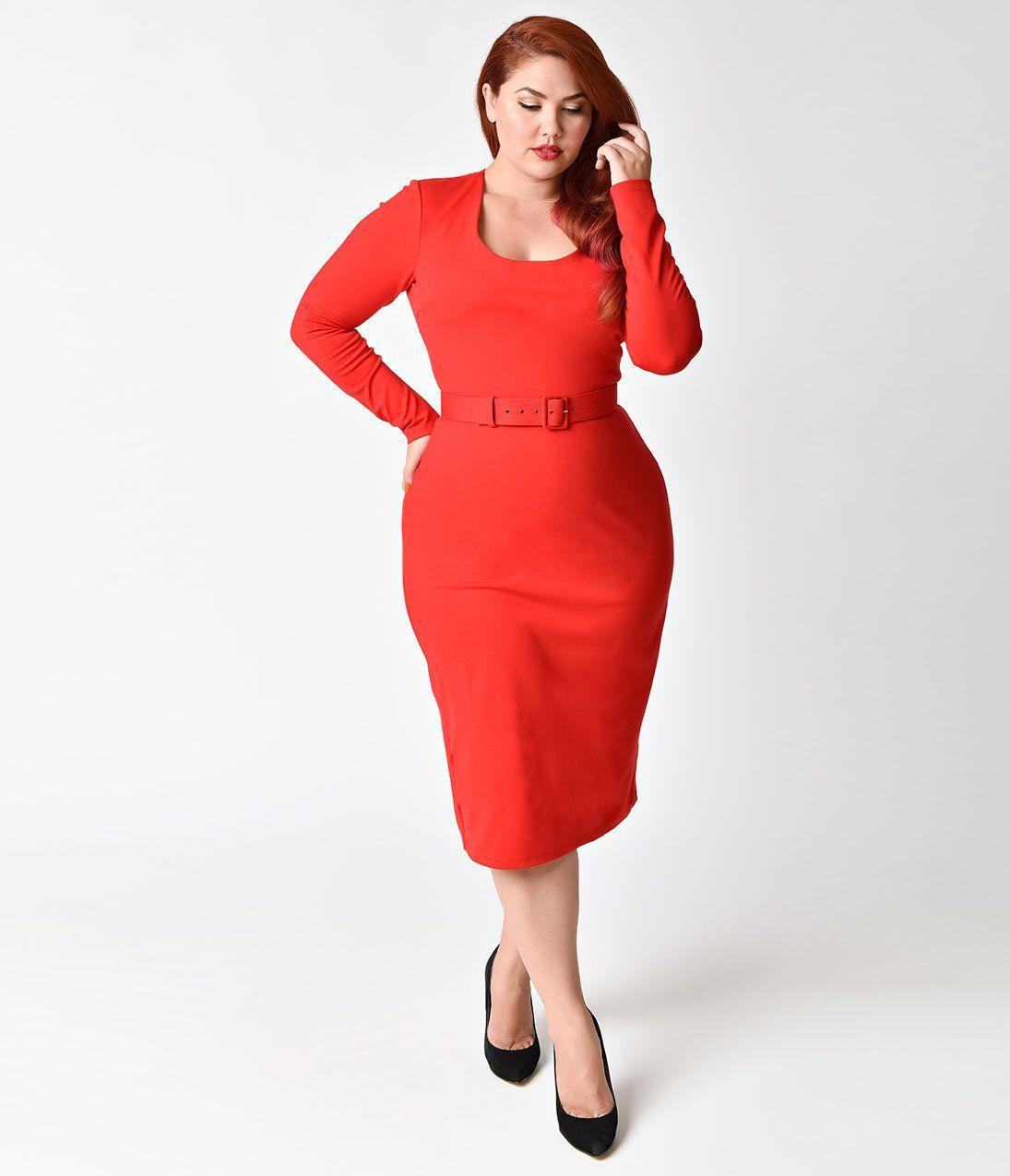 Vixen by Micheline Pitt Plus Size Vintage Red Long Sleeve