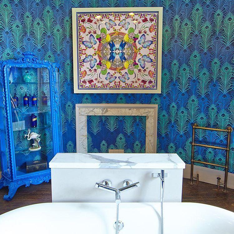 """Peacock"" Eden wallpapers. Blue bathroom accessories"