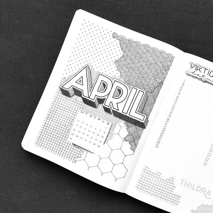 Bullet journal monthly cover page, April cover page, geometric design drawing, bullet journal monthly calendar, linear calendar. | @designbythildra