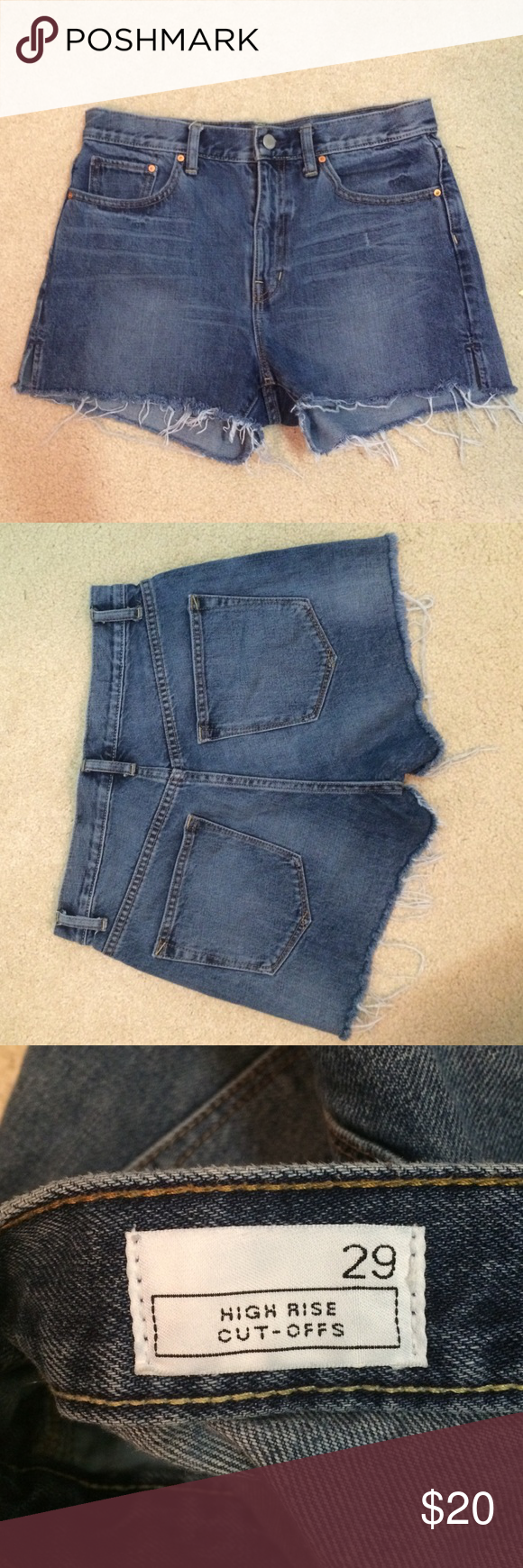High Rise Jean Cut Offs Gap high rise Jean cut offs! Comfortable and flattering. Not too short. GAP 1969 Collection GAP Shorts