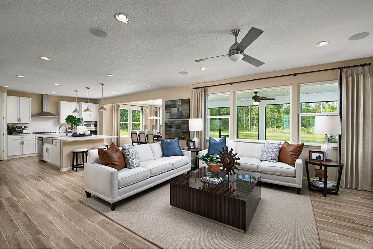 Abundant Natural Light Yorktown Model Home Great Room Kitchen St Johns Florida Richmond American Homes Great Rooms Home Modern House Plans