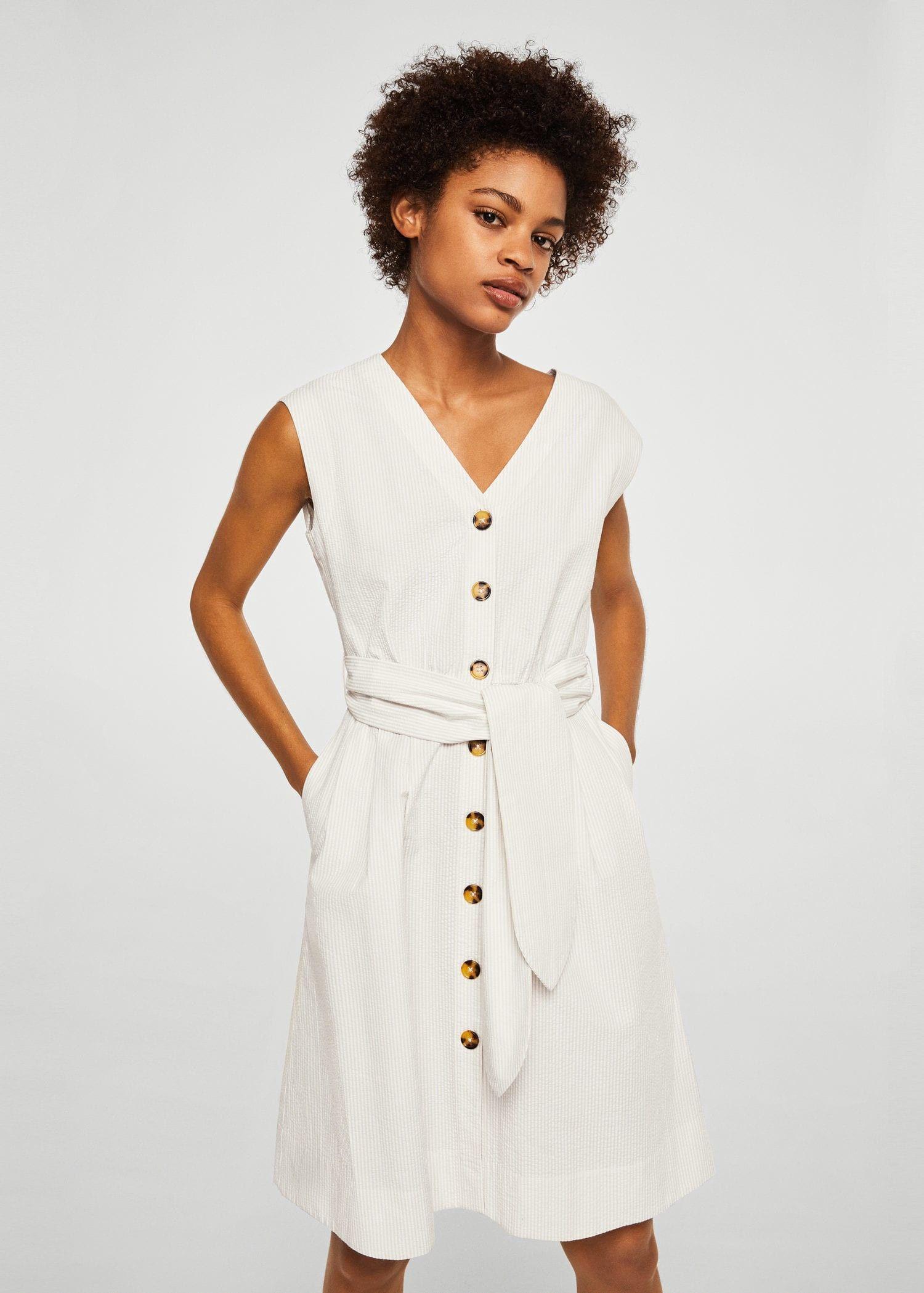 Mango Textured Bow Dress - Women  7a96a0142