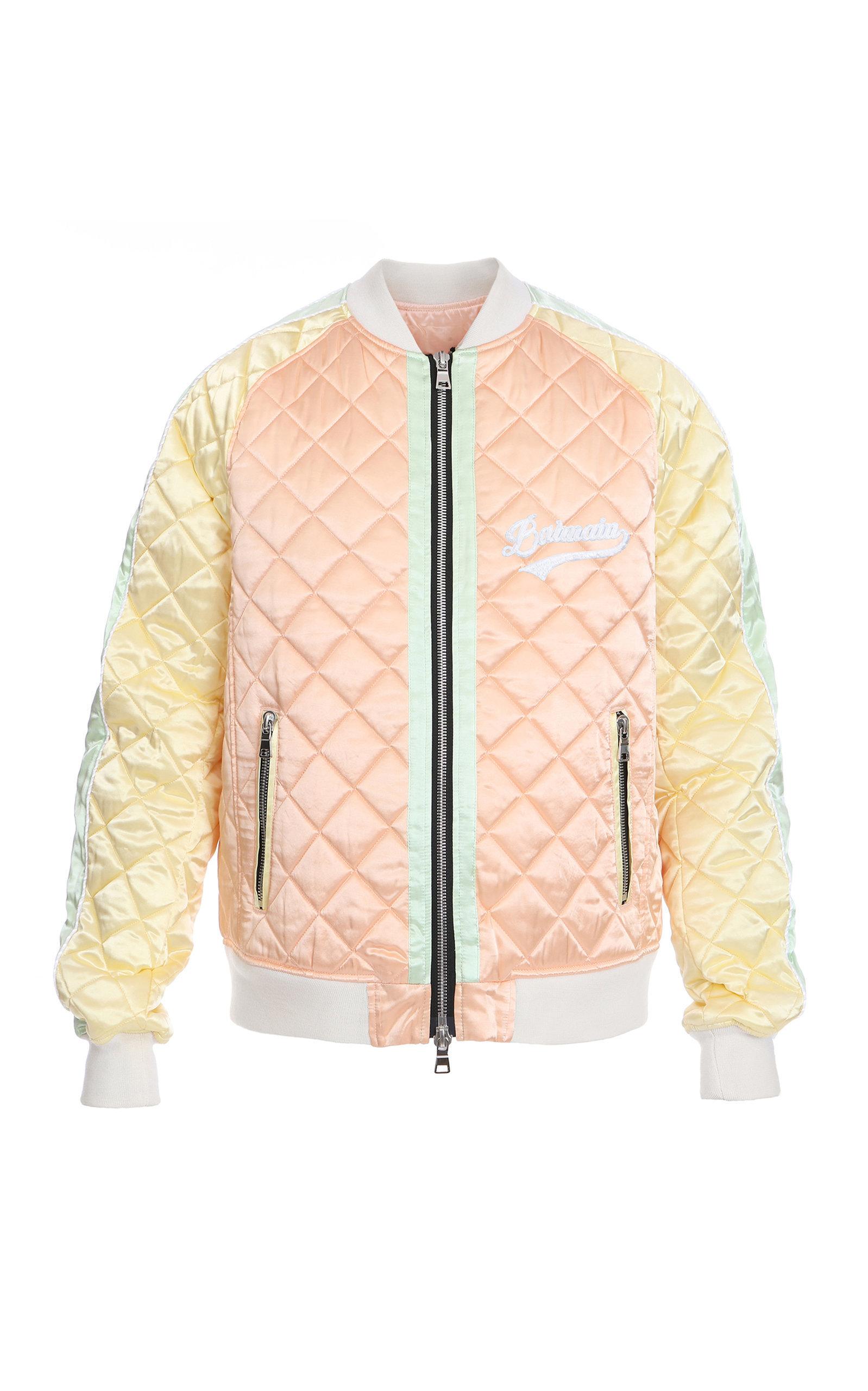 Balmain Quilted Satin Bomber Jacket Balmain Cloth Satin Bomber Jacket Bomber Jacket Cool Outfits [ 2560 x 1598 Pixel ]