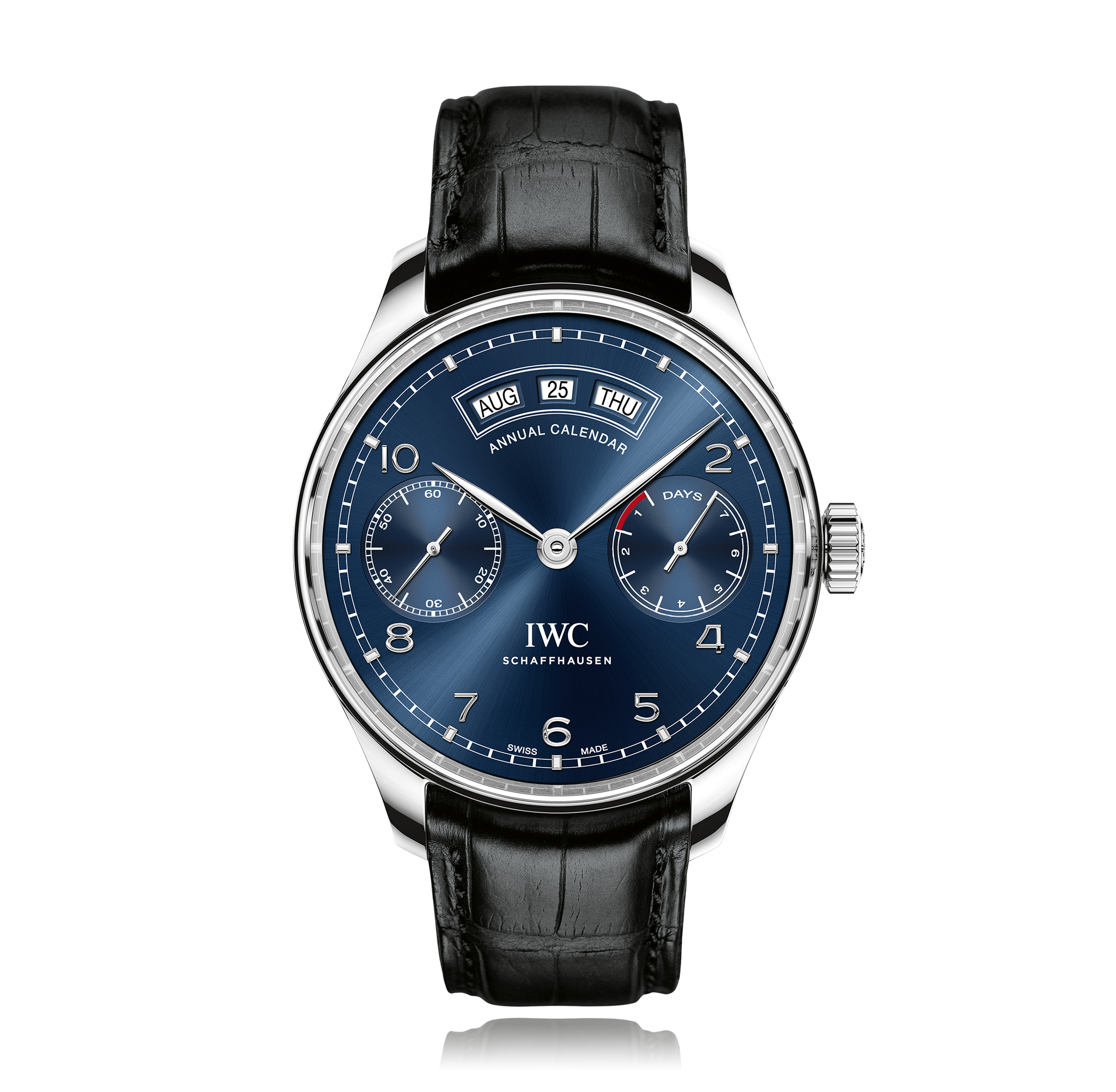 Model IWC Portugieser  Annual Calendar Blue Dial Mens Watch IW503502  Functions Swiss-made, automatic IWC-manufactured calibre 52850, 7-day power reserve, small hacking seconds at 9 o'clock, annual calendar with displays for the date, day and month, sapphire crystal glass and water resistant to 30 metres.  Features The new Portugieser  Annual Calendar brings together two firsts for IWC and three masterstrokes of haute horlogerie in a single case: the newly developed annual calendar closes…