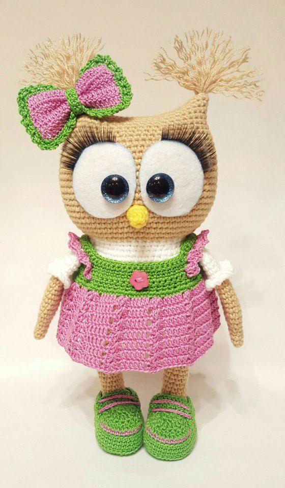 Cute owl in dress amigurumi pattern | Amigurumi-muster ...