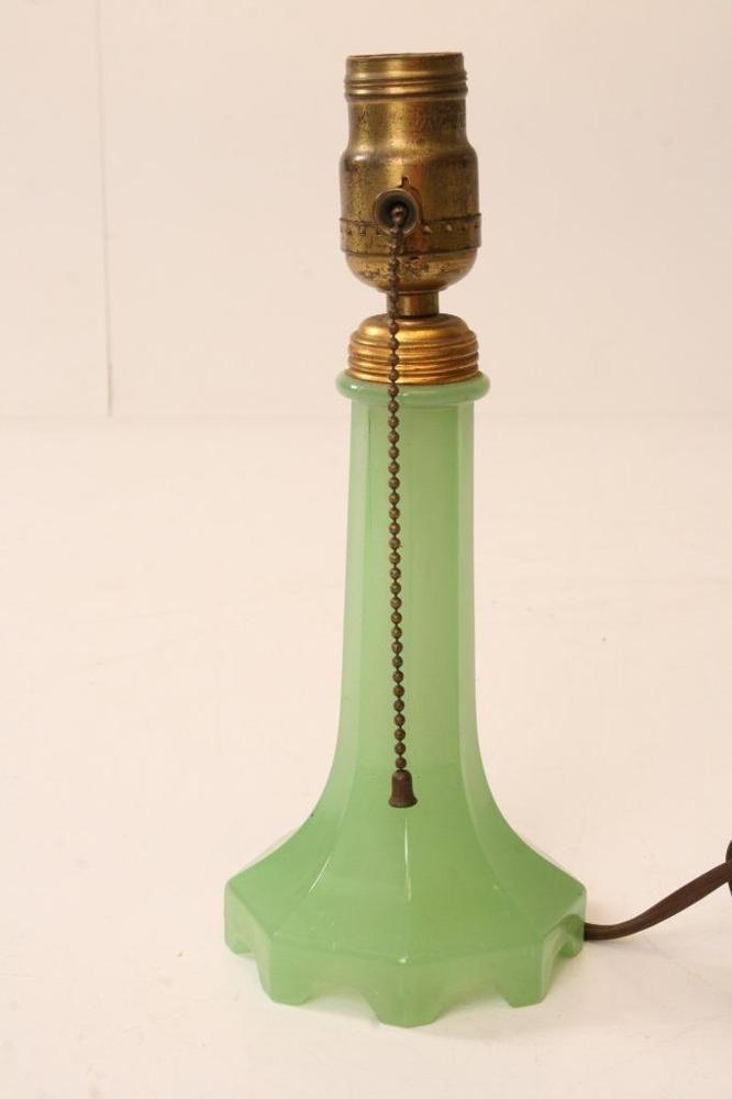 Vintage Jadite Houzex Glass Table Lamp Green Art Deco Mid