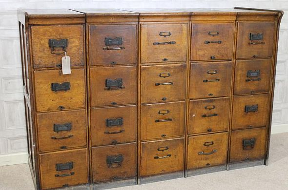 Vintage Oak Filing Cabinet 1920s An Opportunity To A Large Bank Of Original Solid Drawers In Five Sections This Office Furniture