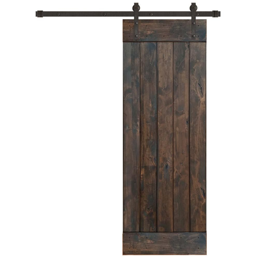 Pacific Entries 30 In X 84 In Rustic Espresso 1 Panel Knotty Alder Sliding Barn Door Kit With Oil Rubbed Bronze Hardware Kit Ea3110 30 10b In 2020 Door Kits Sliding Door Hardware Knotty Alder