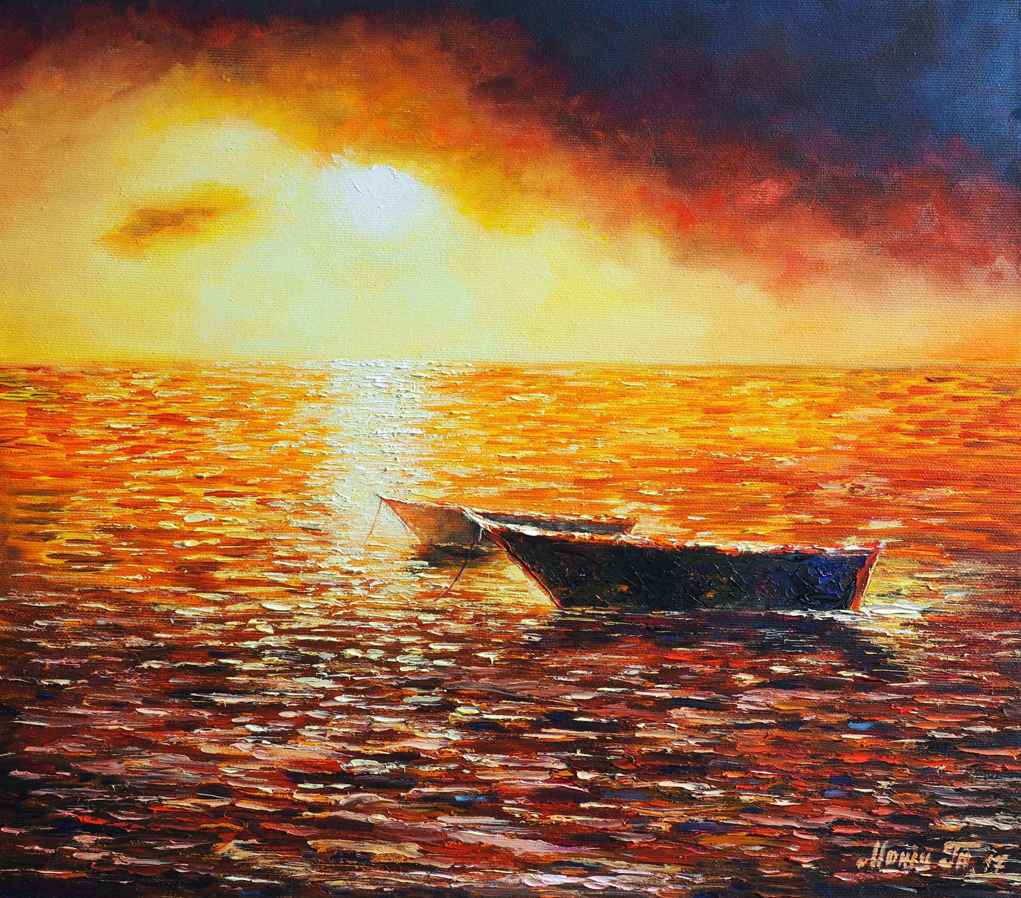 Sea Sunset Modern Art Original Oil Painting On Canvas Orange
