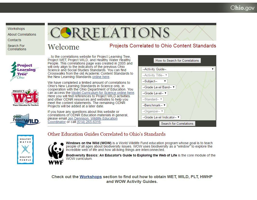 Environmental Education Curriculum Correlations To Ohio S New