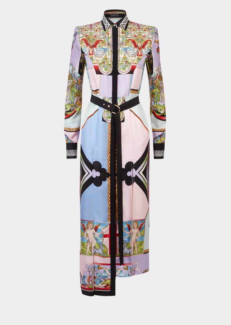 7fa001f4dd0d1 Versace Angeli Print Maxi Shirt Dress for Women
