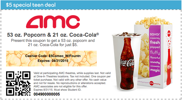 image regarding Coca Cola Printable Coupons called Video Package deal for Young adults $5 Popcorn and Coca-Cola My likes