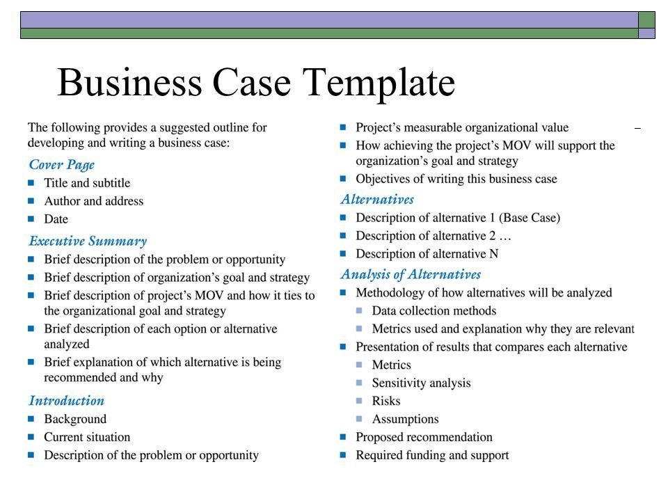 Business Case Template Business case template, Business