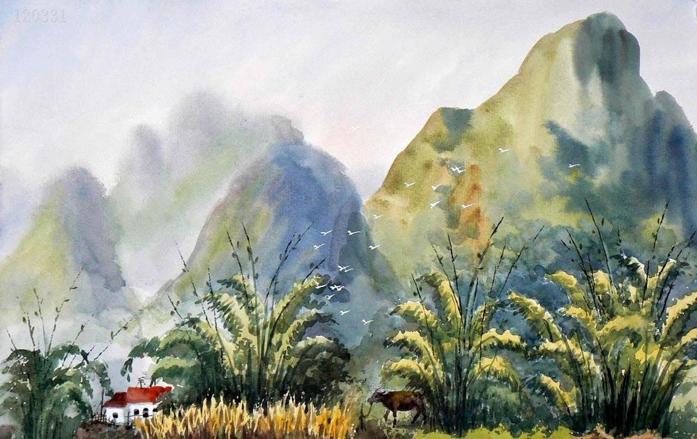 Paling Populer 30 Lukisan Pemandangan Gunung Menggunakan Cat Air Lukisan Cina Gunung Pohon Cat Air Lukisan Cina Download 15 L Di 2020 Painting Pemandangan Cat Air