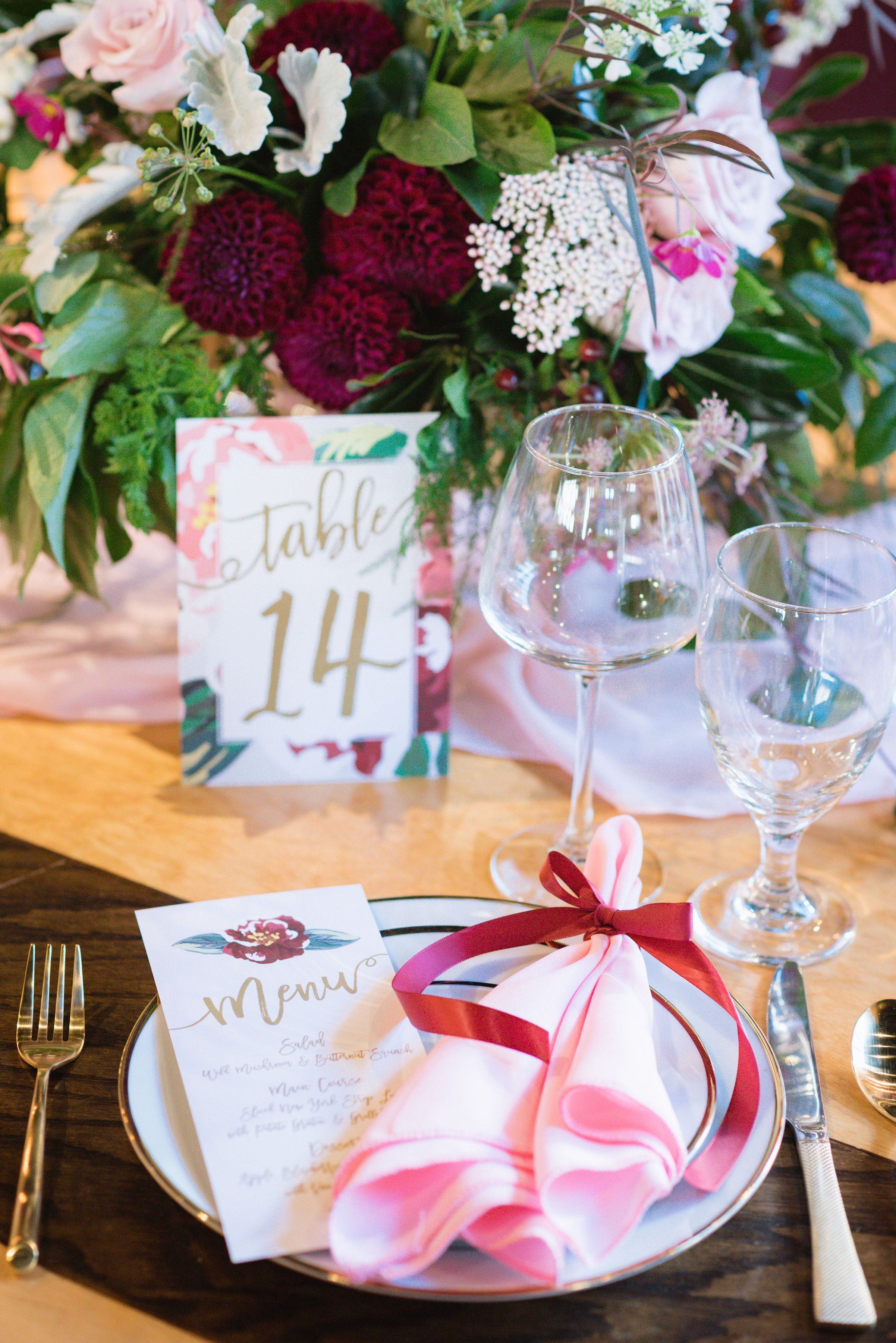 Pink and maroon wedding decor  Pink and Burgundy Fall Wedding Ideas Featured at a Wine Bar