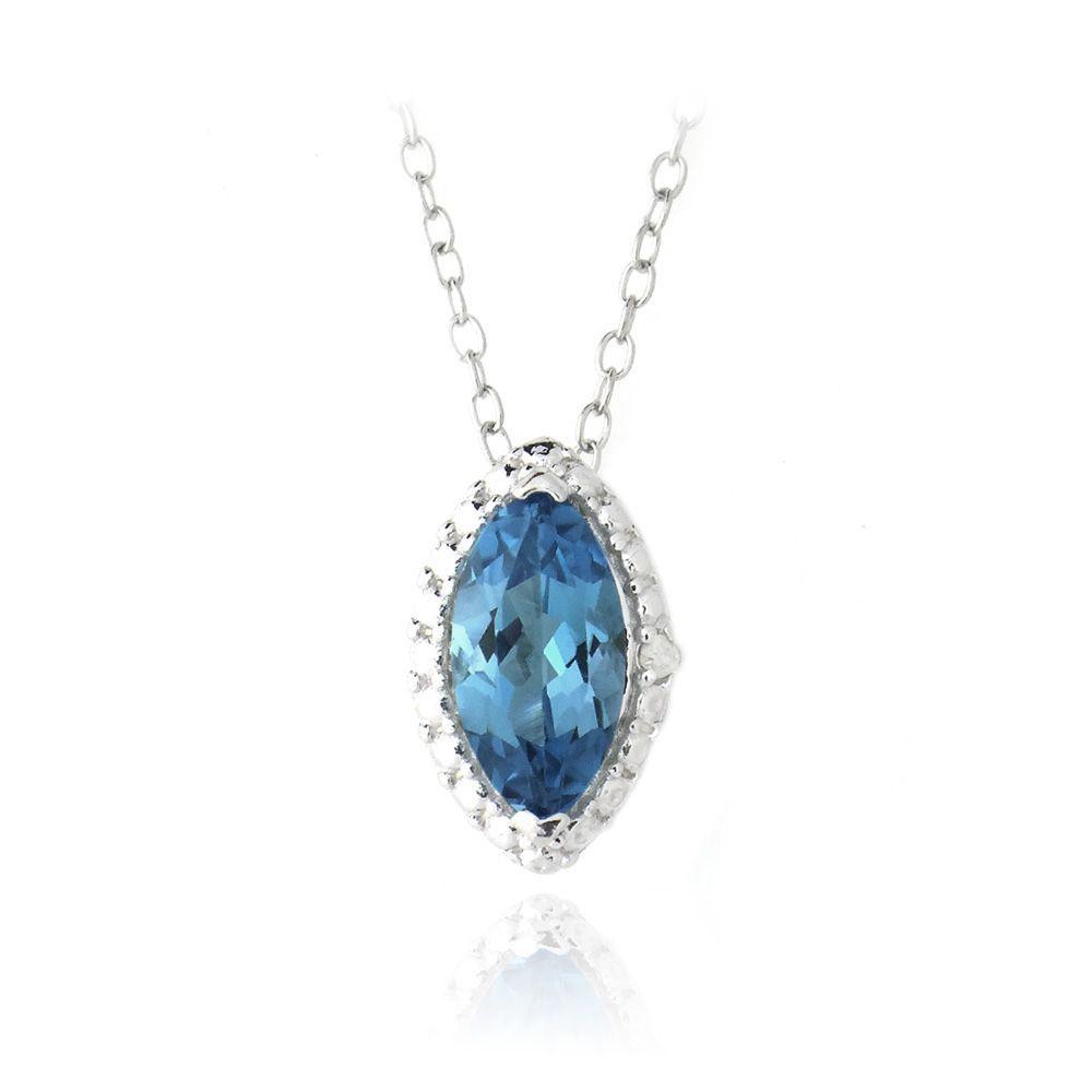 953b6f0e7598cc Glitzy Rocks Sterling Silver London Blue Topaz and Diamond Necklace (London Blue  Topaz Marquis Necklace), Women's, Size: 18 Inch