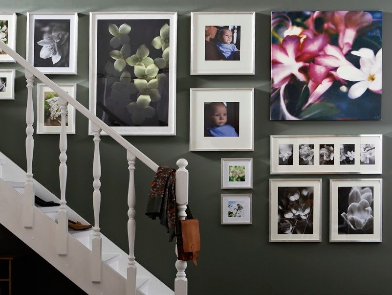 stairs picture hanging with Ikea frames Ribba | Ikea | Pinterest