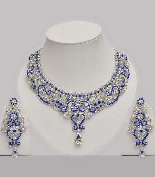 f5f09b42f3699 Blue & White Stones Studded Jewelry Set Online - Click Image to ...