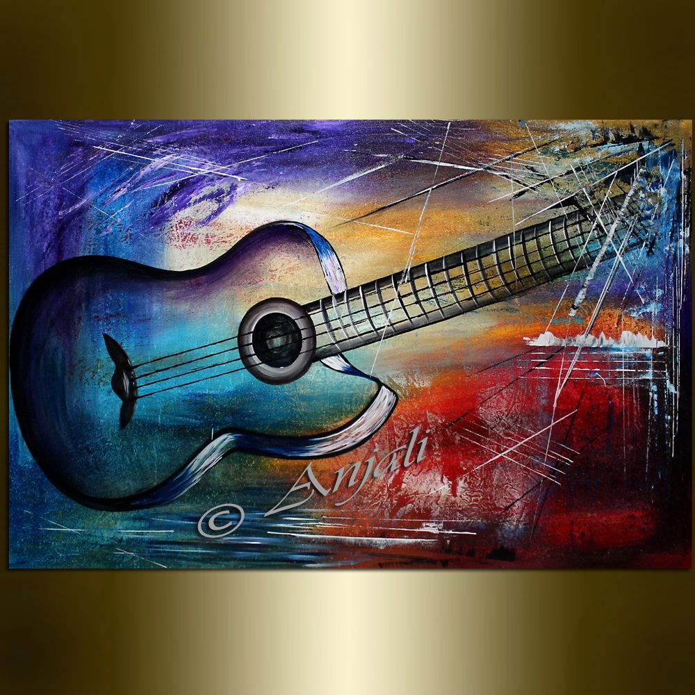 Large Guitar Painting Music Artwork Abstract Art Oil