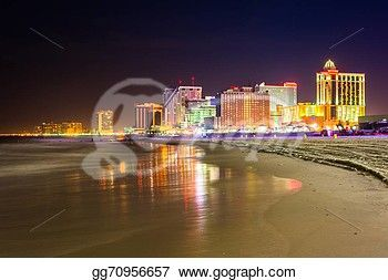 The Skyline And Atlantic Ocean At Night In Atlantic City New Jersey New Jersey Stock Photo From Gograph Com Ocean At Night Atlantic City Skyline