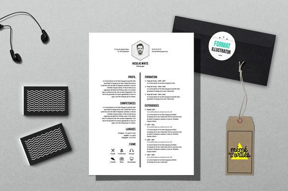 Illustrator Resume Templates White  Resume Template Illustrator Bygraphicsauthor  Resume Cv