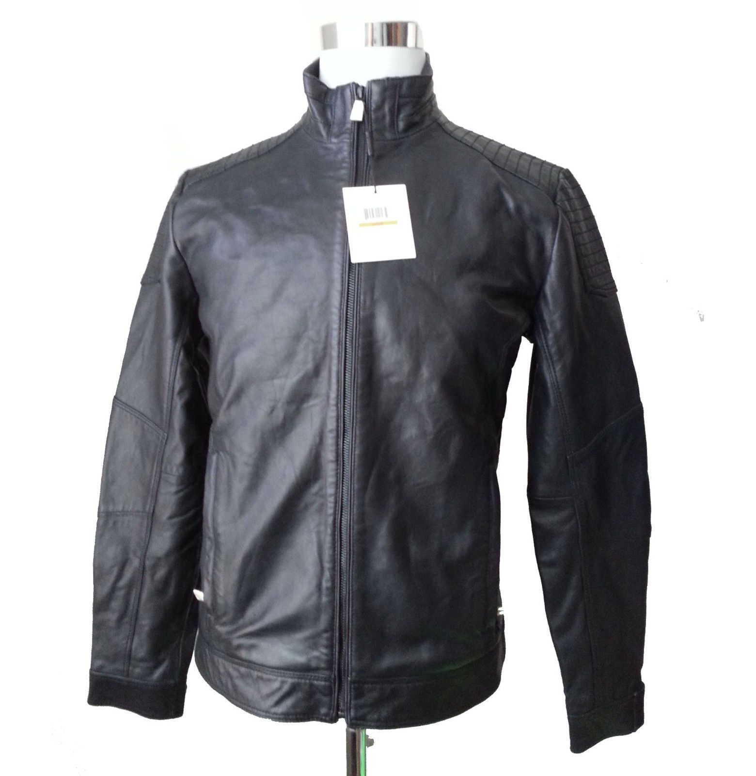 Calvin Klein Men Size S leather Black jacket Made in