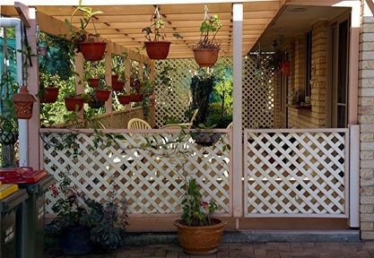Like This Idea Lattice A Bit Higher With Mosquito Net Or Screen Inside Of It Privacy And Shade Lattice Patio Lattice Fence Porch Lattice
