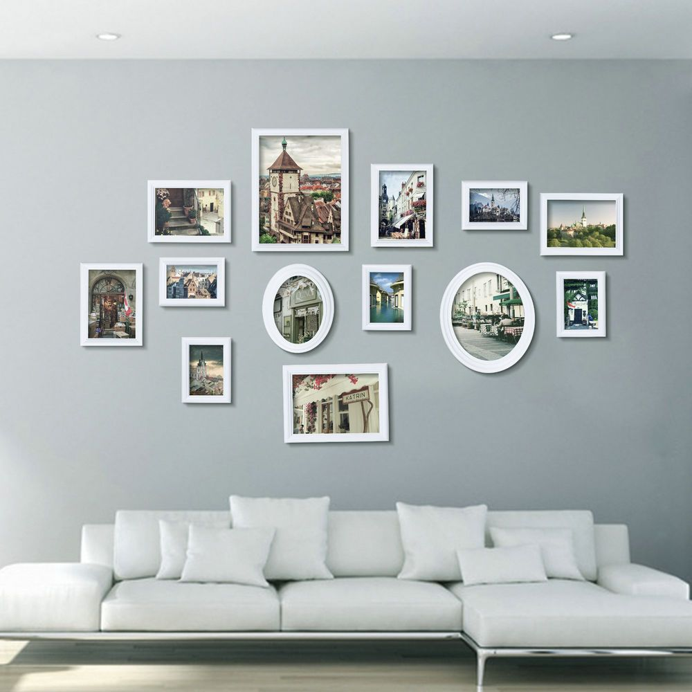 Uk stock 13 pcs collage natural white wooden multi picture photo uk stock 13 pcs collage natural white wooden multi picture photo frame wall set jeuxipadfo Choice Image