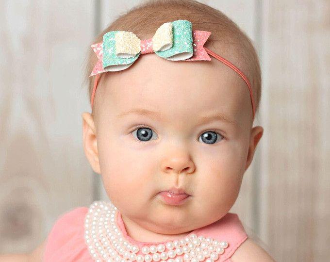 Baby headband Girl headbands Baby shower Skinny elastic hair bands Baby hair band Glitter bow headband Colours + Felt bow headband