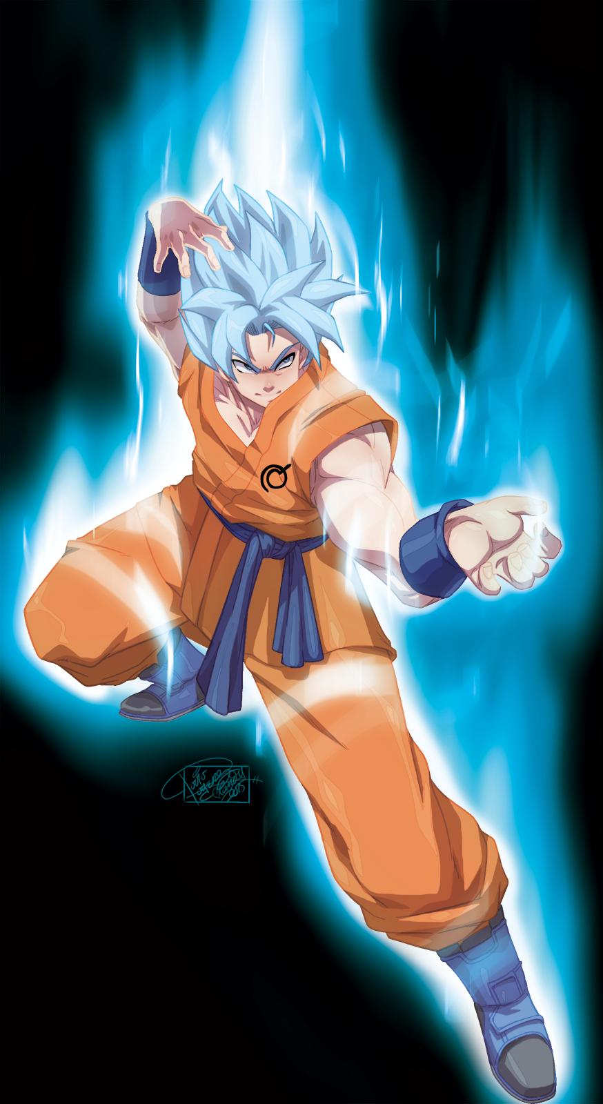 Anime Picture Search Engine 1boy Aura Blue Eyes Blue Hair Boots Dougi Dragon Ball Dragon Ball Z Fighting Stance Full Goku Super Saiyan Dragon Ball Art Anime