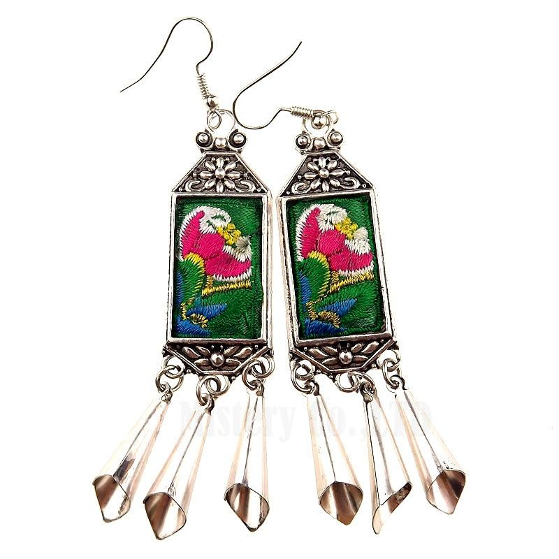 Ethnic embroidery embroidered geometric hand made long chandelier ethnic embroidery embroidered geometric hand made long chandelier earrings for women wholesale jewelry 2016 aloadofball Images