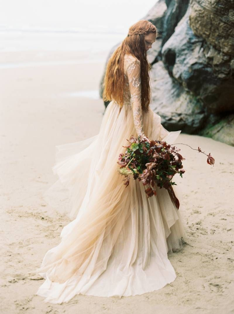 Fleur delacour wedding dress  Ethereal Oregon Coast Bridal Session via Magnolia Rouge
