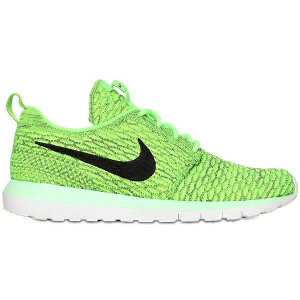 NIKE Flyknit Roshe Run Sneakers - Neon Green ( 105) ❤ liked on Polyvore  featuring 47882e351
