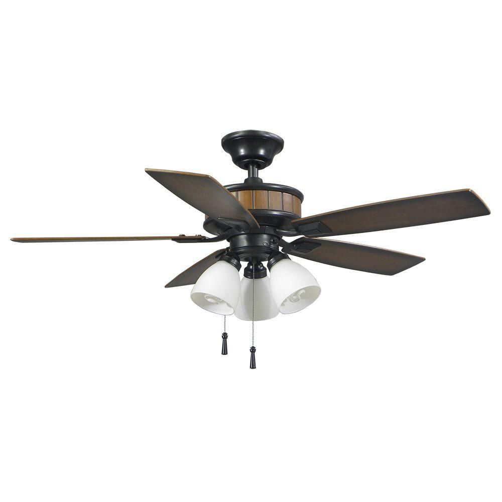 Hampton bay riverwalk in natural iron ceiling fan with shatter