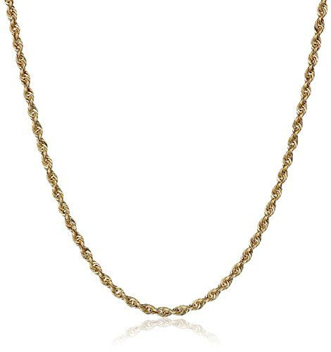 14k Yellow Gold Solid Rope Chain Necklace ** You can get additional details at the image link.(This is an Amazon affiliate link and I receive a commission for the sales)