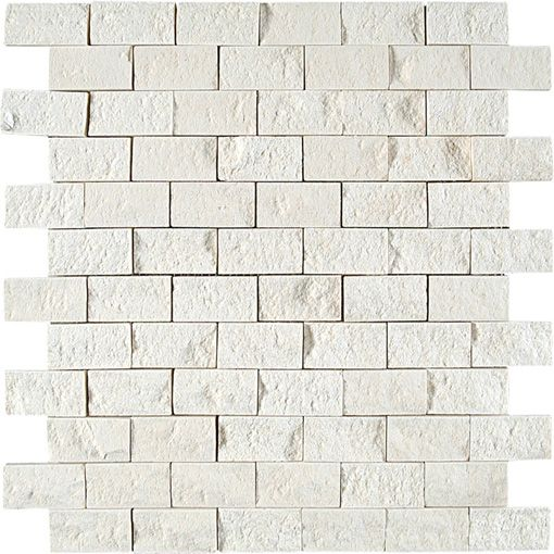 Split face limestone mosaic tile | How to Renovate a Small Bathroom on a Budget