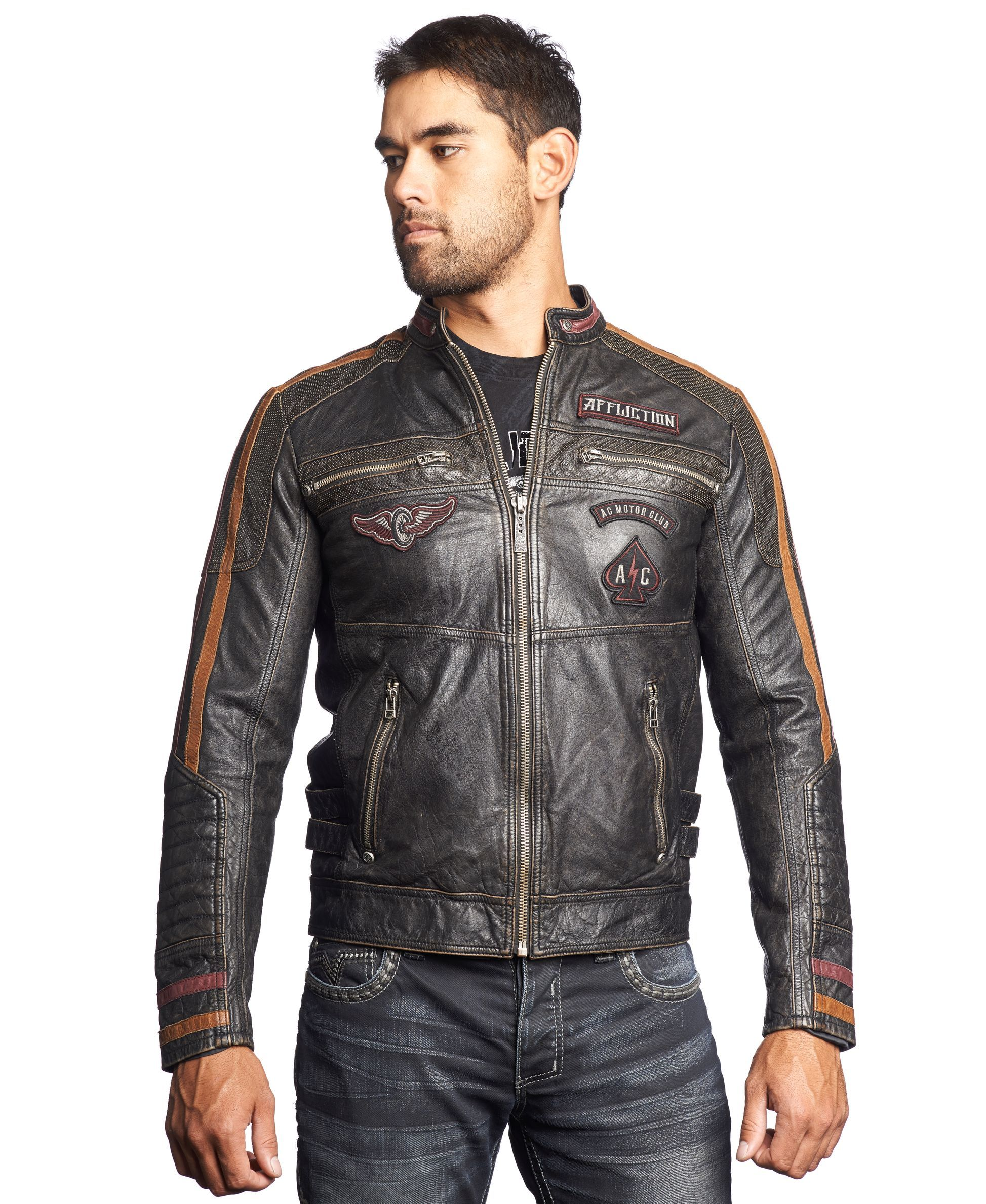 Affliction Built For Speed Leather Moto Jacket Leather