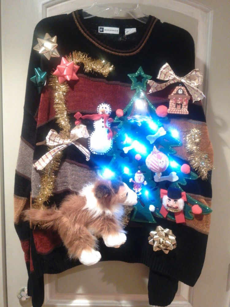 border collie lassie ugly christmas sweater lights up tacky sz l 48 free ship