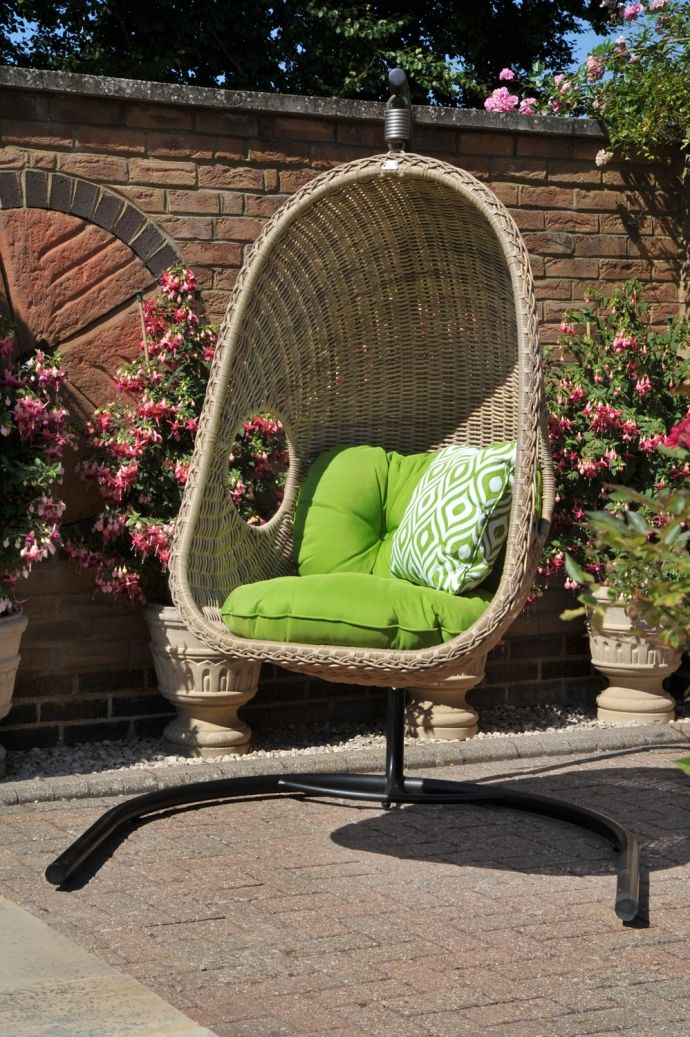 Auckland Single Hanging Chair And Stand Light Bonano Cushions Napier Lime Ters Pinamar
